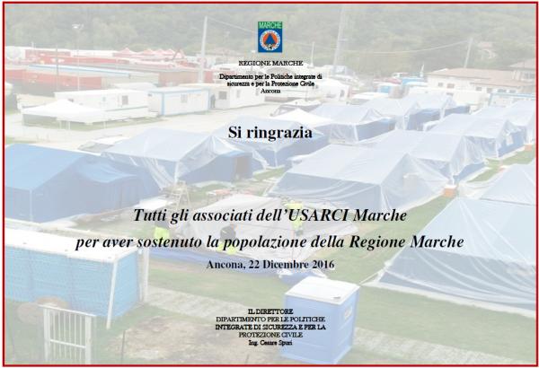 Donazione a favore della popolazione Marchigiana colpita dal Sisma